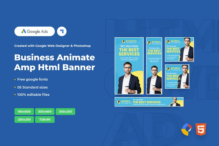 Thumbnail for Business Animate Ads Template AMPHTML Banners V04