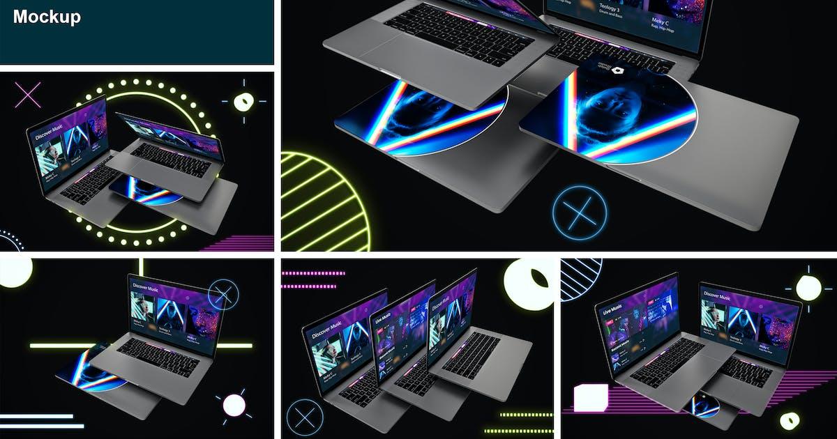 Download Neon Floating MacBook Pro by QalebStudio