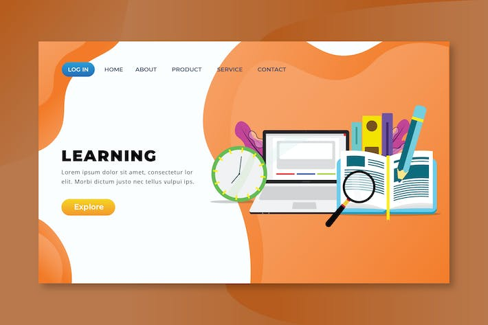 Thumbnail for Learning - XD PSD AI Vector Landing Page