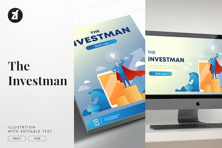 The investman illustration with text layout