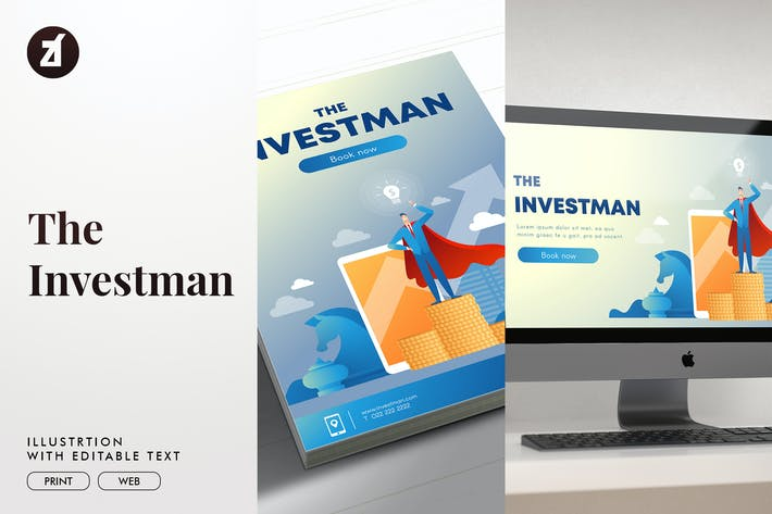 Thumbnail for The investman illustration with text layout