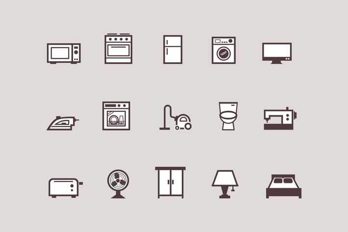 Thumbnail for 15 Appliance and Household Icons