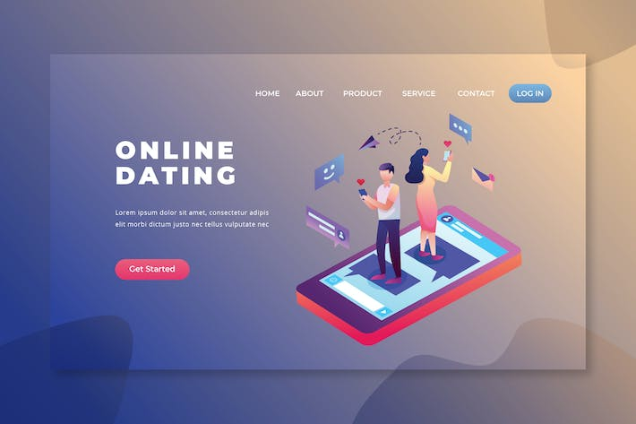 Thumbnail for Online-Dating - PSD und AI Vektor Landing Page
