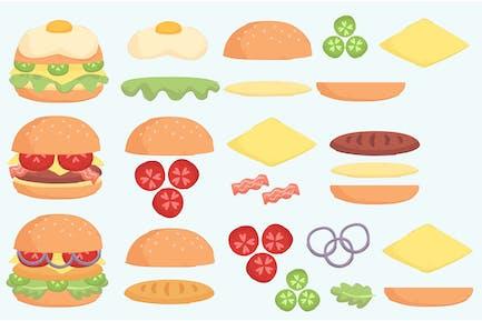 Burger Zutat Illustration Set