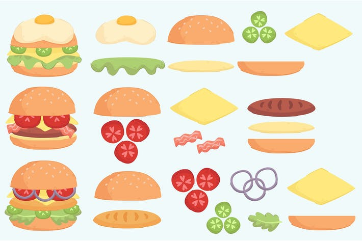 Burger Ingredient Illustration Set