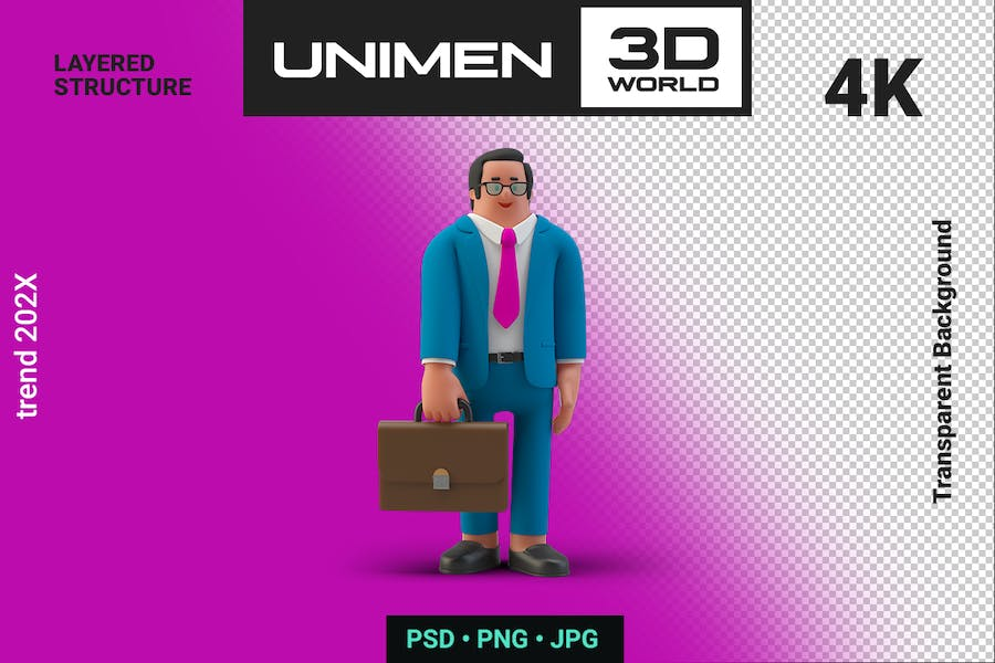 Happy Businessman 3D Standing with Briefcase