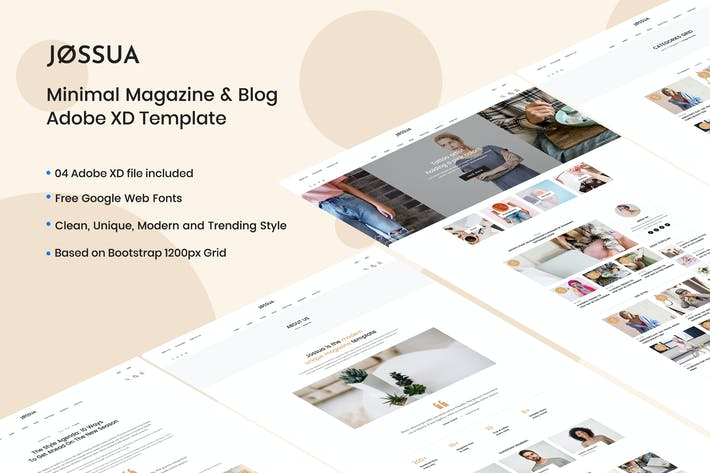 Thumbnail for JOSSUA - Minimal Blog & Magazine Adobe XD Template