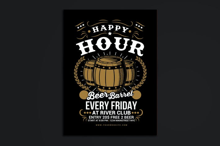 Thumbnail for Happy Hour Beer Barrel Flyer