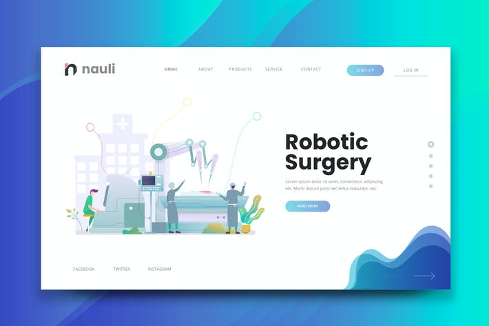 Thumbnail for Robotic Surgery Web PSD and AI Vector Template