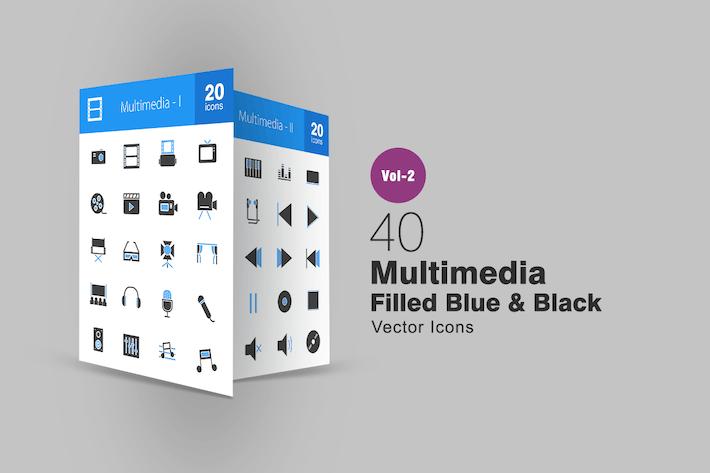 Thumbnail for 40 Multimedia Blue & Black cons