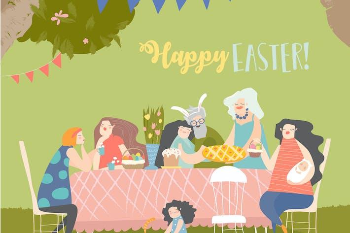 Thumbnail for Cartoon happy family having Easter dinner in bloss
