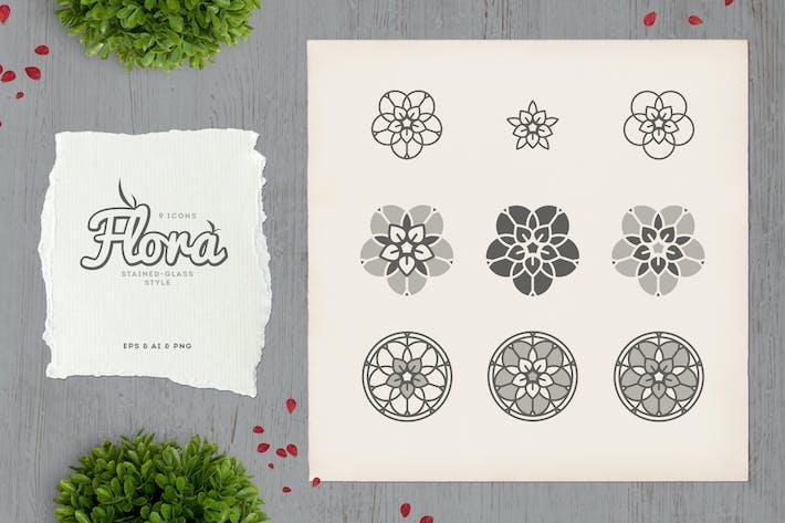Flora - Buntglas-Icons
