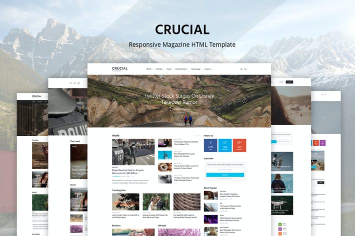 Thumbnail for Crucial - Magazine Bootstrap  HTML Template