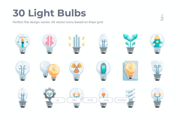 Thumbnail for 30 Light Bulbs Icons - Flat