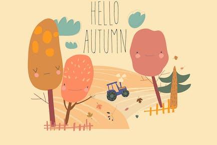 Landwirtschaftliche Herbstlandschaften mit Traktor