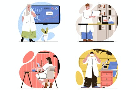 Laboratory Flat Line Illustrations Set