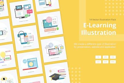 Ilustración Vector aprendizaje electrónico