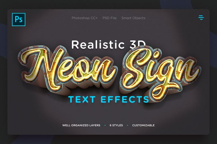 Thumbnail for 3D Neon Sign Text Effects