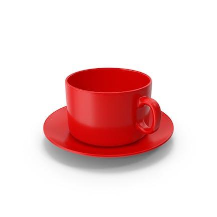 Taza de café roja con plato vacío