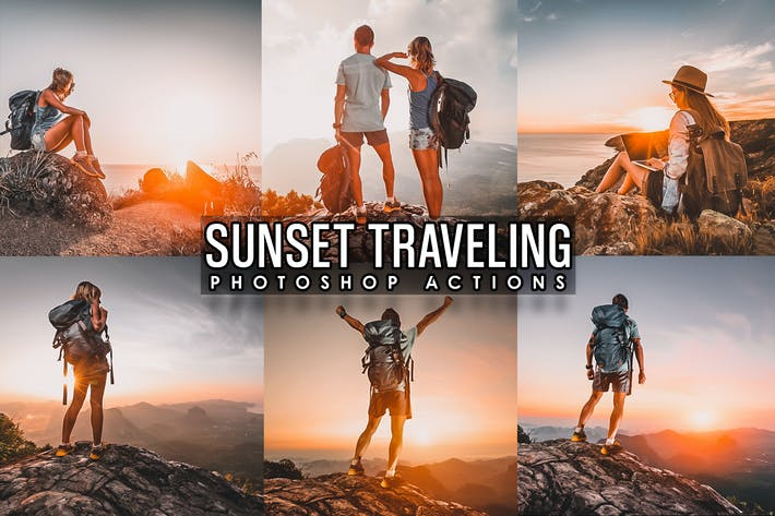 Thumbnail for Sunset Traveling  Photoshop Actions