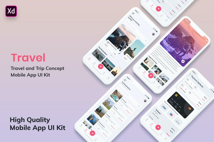 Thumbnail for Tour & Travel Booking MobileApp UI Kit Light (XD)