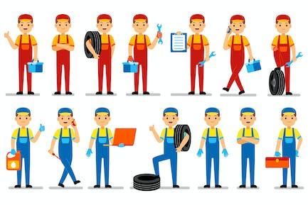 Mechaniker Beruf Charaktere Set
