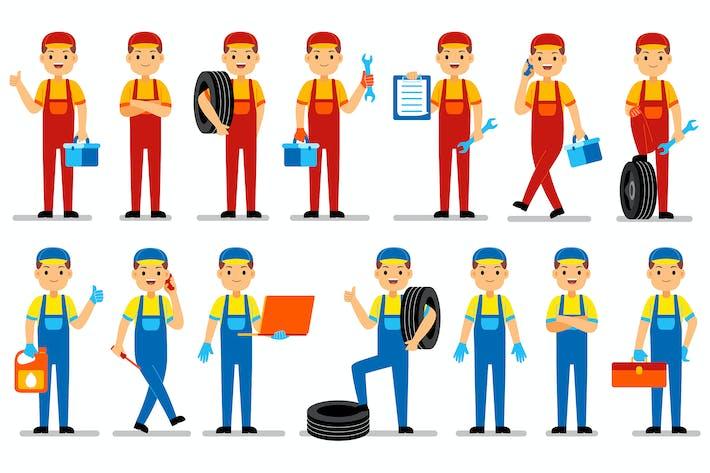 Mechanic Profession Characters Set