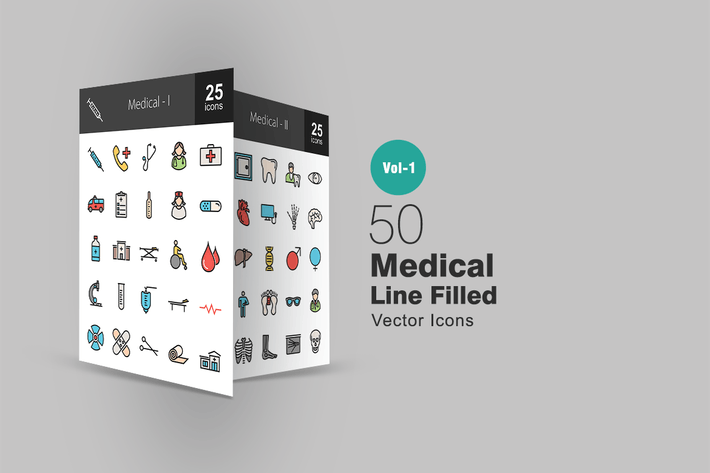 Thumbnail for 50 Medical Line Filled Icons