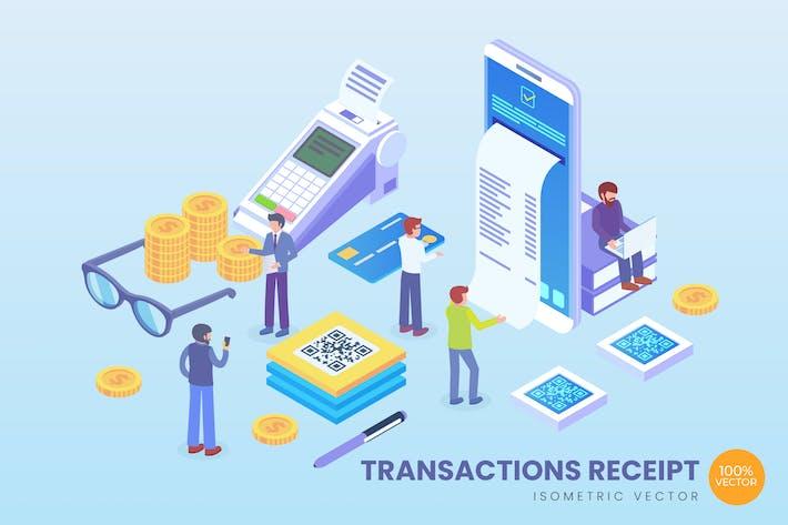 Isometric Transactions Receipt Vector Concept