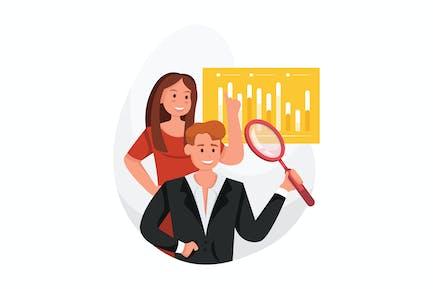 Business woman and man measure datas, indicators .