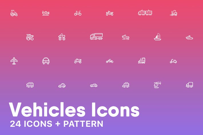 Thumbnail for Vehicles Icons + Pattern