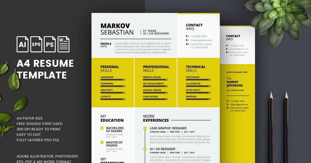 Minimalist Cv Resume Template By Last40 On Envato Elements
