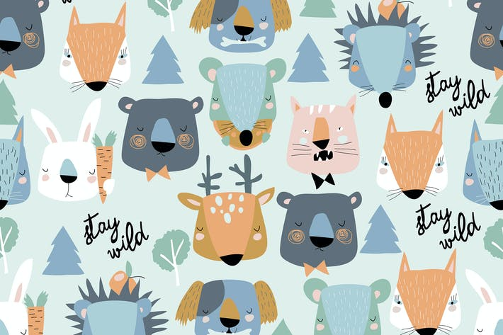 Thumbnail for Vector seamless pattern of cute animals heads