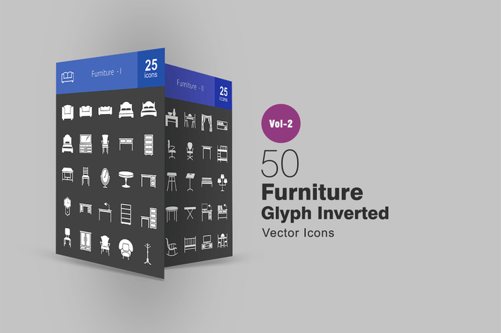 Thumbnail for 50 Furniture Glyph Inverted Icons