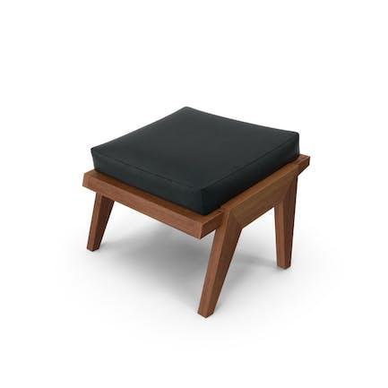 Dark Wood Leather Ottoman