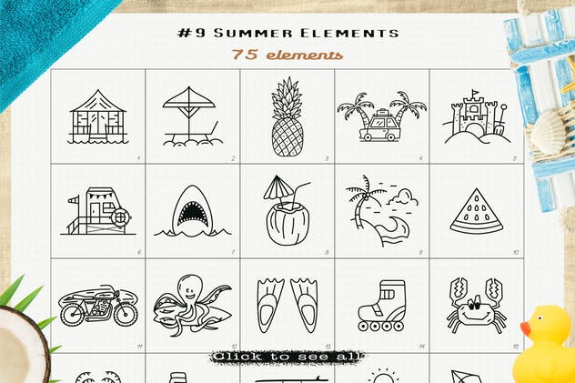 Summer Icons Pack. Surf Beach Elements SVG Bundle
