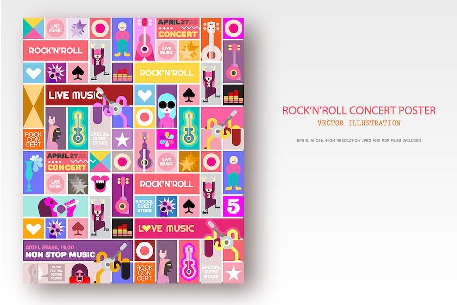 Рок-концерт дизайн плаката, вектор Поп арт коллаж