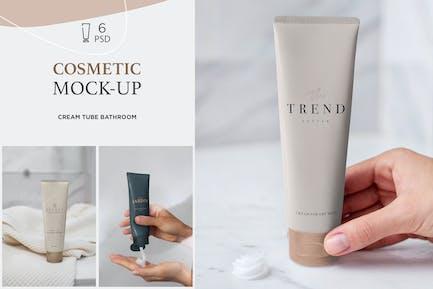 Cosmetic Mock-Up Cream Tube Bathroom