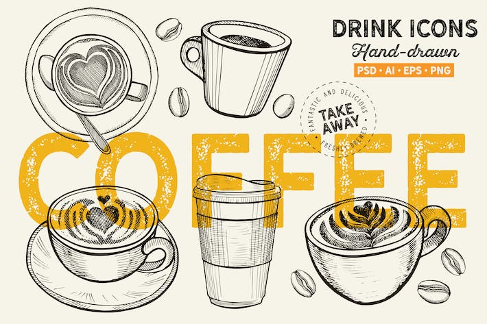 Thumbnail for Coffee Mugs Hand-Drawn Graphic