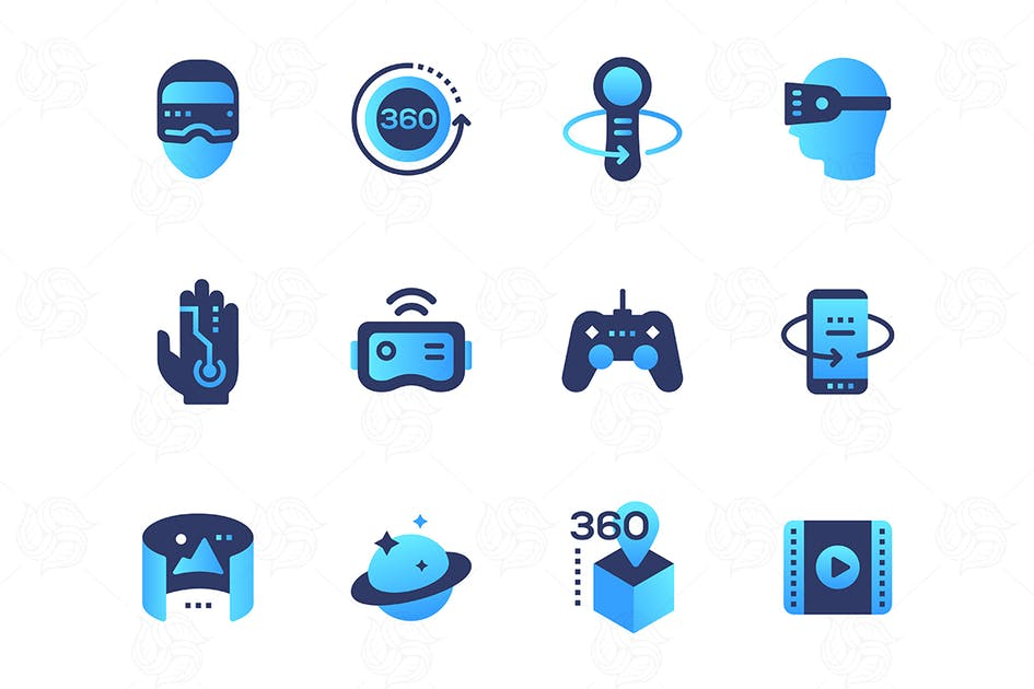 Download Virtual reality - set of flat design style icons by BoykoPictures