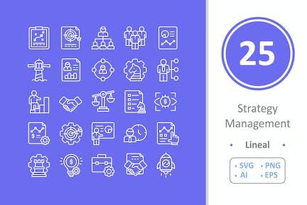 25 Strategie-Management-Icons - Linie