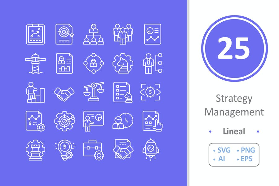 25 Strategy Management Icons - Line