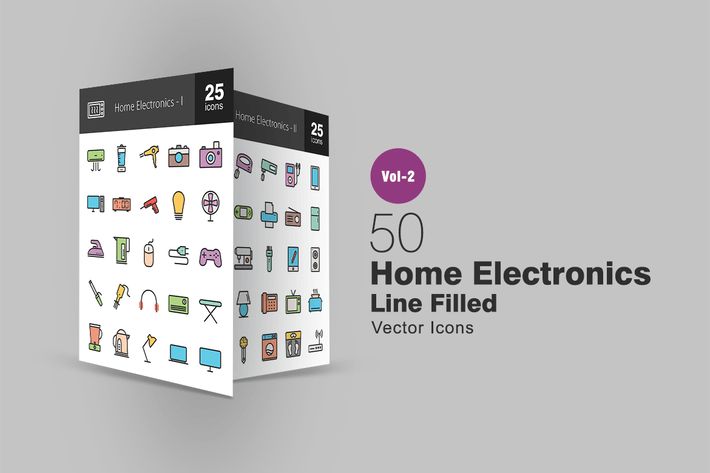 Thumbnail for 50 Home Electronics Line Filled Icons