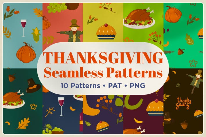 Thumbnail for Thanksgiving Seamless Patterns