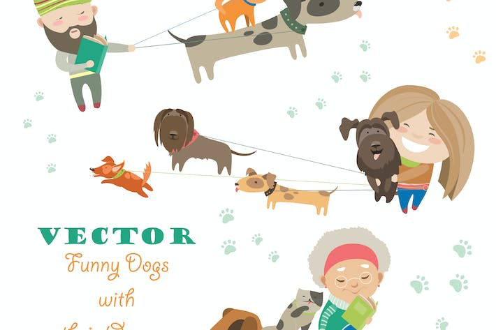 Thumbnail for Cute dogs with their owners. Vector