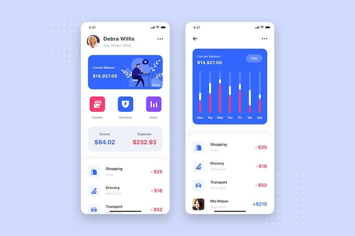 Thumbnail for Plantilla del kit de interfaz de usuario de banca móvil