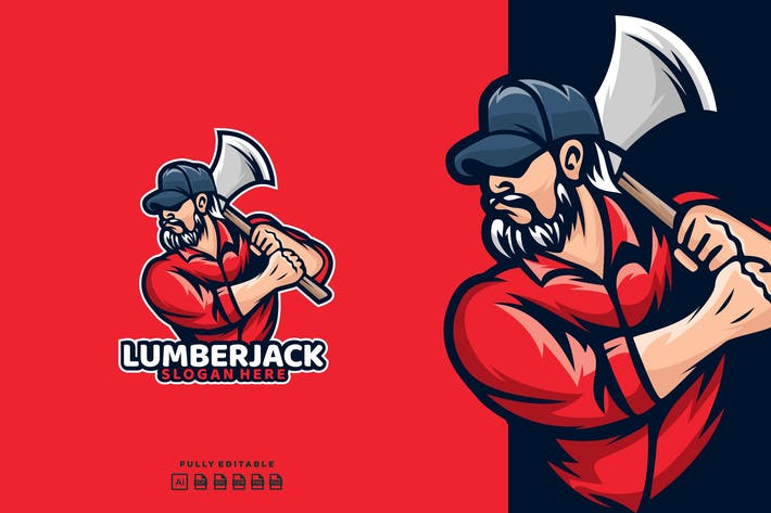 Thumbnail for Lumberjack Timber Axe Logo