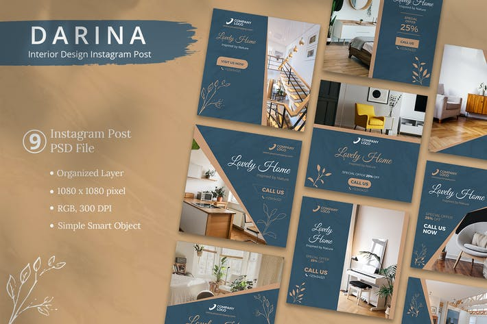 Thumbnail for Darina - Interior Design Instagram Post Template
