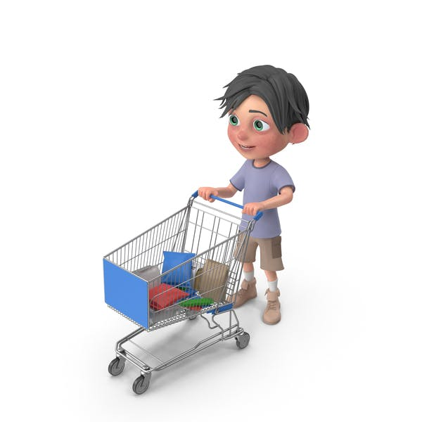 Thumbnail for Cartoon Boy Jack Shopping Cart