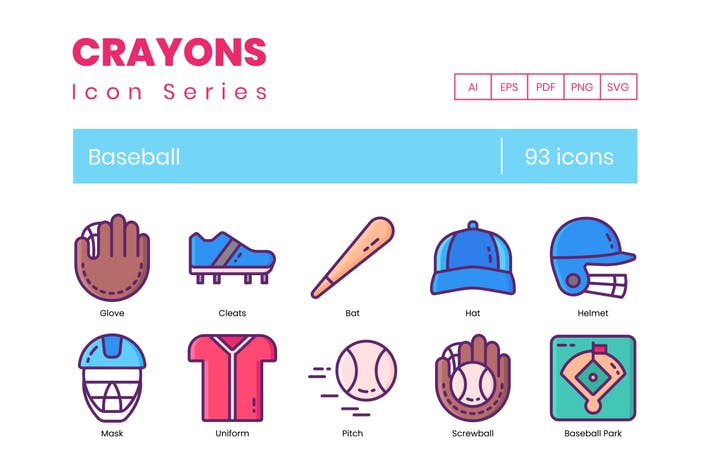 Thumbnail for 93 Baseball Icons | Crayons Series
